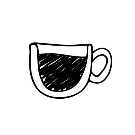Cup of coffee isolated on white background. Hand-drawn cute cup with black coffee or tea. Drink outline tangled line. Element for menu, coffee shop, packaging, sign, web. Vector stock illustration