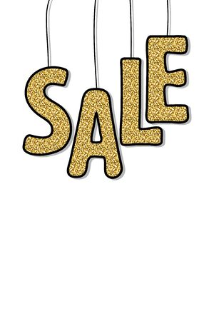 Sale sparkling banner. Gold glitter sale text isolated on white background. Hanging Gold Shiny Gold Letters with shadow. Vector illustration for holiday sales, advertisements, posters. Copy space