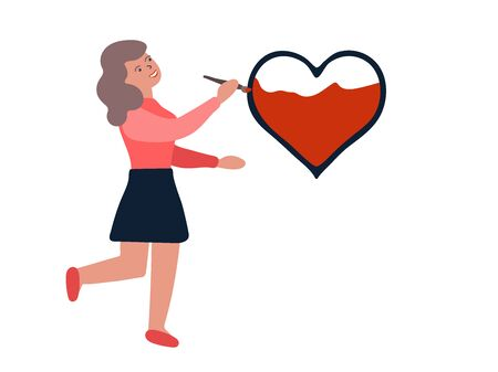 Girl drawing a heart isolated on a white background. A happy character is in creativity. Smiling person and a red heart. Hand-drawn cute woman with gray hair and fair skin. Vector stock illustration Illustration