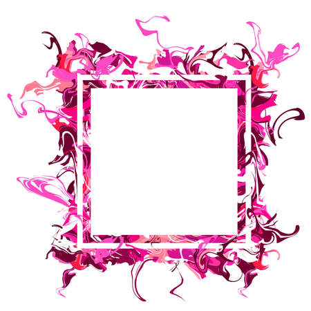 Marble texture banner. Liquid texture. Pink, red stains. White frame with pink paints isolated on a white background. Surface water, paint, waves, divorces, acrylic, watercolor, copy space, border Иллюстрация