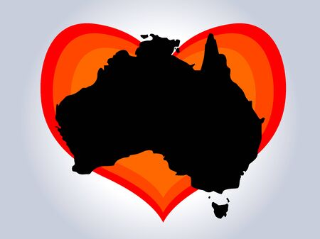Save Australia vector illustration. Australia continent black silhouette with red gradient heart on gray background. A sign of support for charitable and rescue operations after fires in Australia 矢量图像