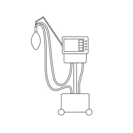 Medical ventilator line icon. Outline mechanical ventilation lungs Machine isolated on white background. Apparatus to patients having trouble breathing, coronavirus covid-19, pneumonia. Vector sign
