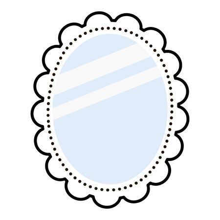 Vector flat style mirror. Cute illustration with a minimalistic piece of furniture. Outline mirror with blue shiny glass isolated on white background. Cartoon Beauty Accessory. Funny interior Detail