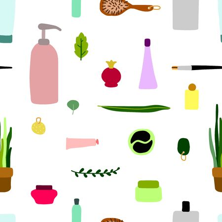 Seamless scandinavian vector pattern. Hand-drawn cosmetics, makeup and plants isolated on white background. Cute illustration for beauty salons, women's day, textile, wrapping paper. Personal care