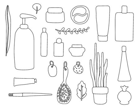 Set of contour items of cosmetics and plants. Outline packages, bottles, tubes with cosmetics, shampoo, soap, cream, mask, patches. Personal care things - brush, comb, sponge. Greenerys, leaves, stick Vektorové ilustrace