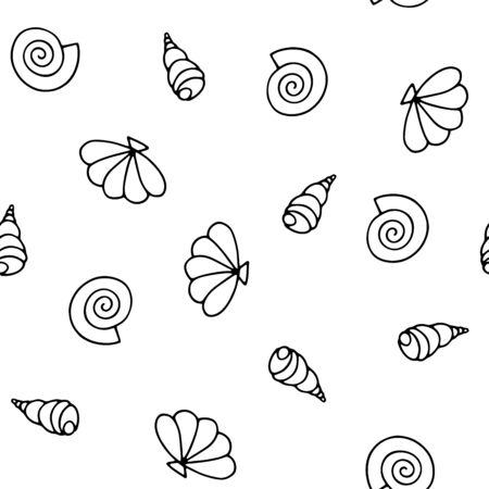 Seashells seamless vector summer pattern. Black outline sea snails isolated on a white background. Illustration with random shells for wallpaper, wrapping paper, textiles, summer decoration, clothes