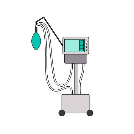 Medical ventilator line icon. Color mechanical ventilation lungs Machine isolated on white background. Apparatus to patients having trouble breathing, coronavirus covid-19, pneumonia. Vector sign