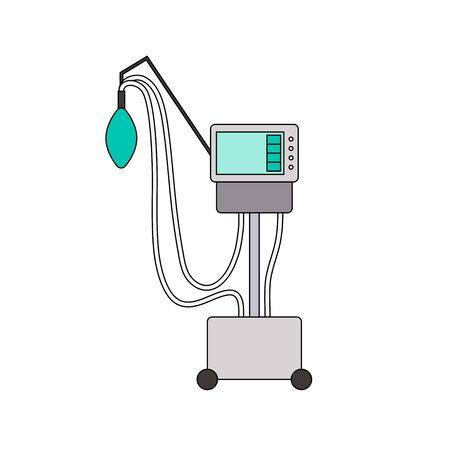 Symbol für die Leitung des medizinischen Beatmungsgeräts. Farbe mechanische Beatmung Lungen Maschine auf weißem Hintergrund. Gerät für Patienten mit Atembeschwerden, Coronavirus Covid-19, Lungenentzündung. Vektorzeichen