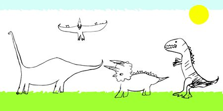 Set of dinosaurs Pterodactyl, tyrannosaurus, triceratops, diplodocus on the lawn under the sun. Vector stock illustration for banners, posters, design for children. Educational Coloring book for kids