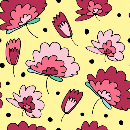 Seamless vector floral pattern. Hand-drawn pink plants on yellow dotted background. Doodle dot illustration for wallpaper, cards, wrapping paper, Women's Day, Mother's Day, summer and spring holidays