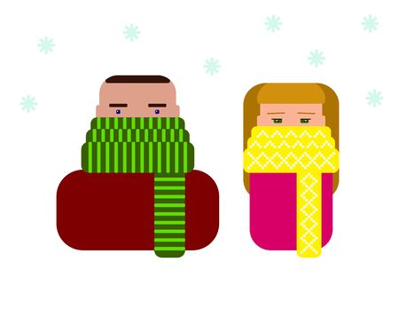 Colored icons man and woman in scarves in the disease season. Stop virus Winter vector stock illustration with snow and warm clothes. Characters with a protected face. Mascots with ornamented scarves