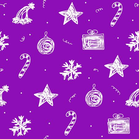 Seamless Christmas pattern. Vector New Year background of white holiday symbols. Hand-drawn tangled lines toys. Star, hat, ball, gift, candy, snowflake. Illustration for wallpaper, wrapping paper 일러스트