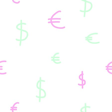Currency seamless pattern. Pastel Dollar and Euro Signs. White, pink, blue colors of a modern background for wallpaper, posters, wrapping paper,textile. Finance, taxes, money, cash vector illustration