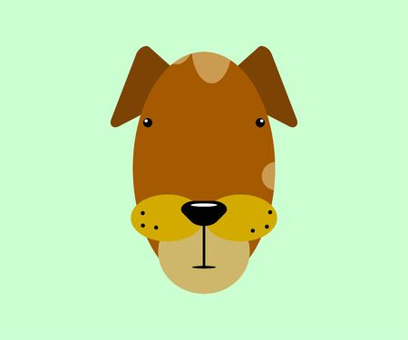 Kawaii dog animals face on a mint background. Funny brown character with small eyes and an elongated face in a minimalistic geometric style. Color emoji, sticker, print. Cute pet vector illustration