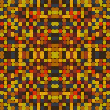 Mosaic seamless vector pattern. Background from square colored mosaic segments. Tile stock image. Wallpaper colors of red, yellow, brown, beige, green. Illustration for wrapping paper, prints, textile