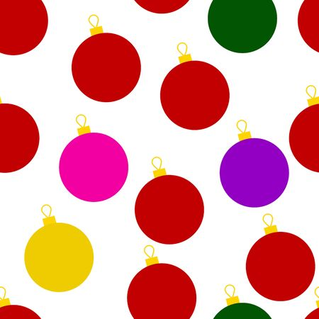 Christmas seamless pattern. Colored New Year decorations isolated on white background. Red, yellow, green, purple balls. Holiday illustration for wallpapers, posters, wrapping paper, posters, cards Illustration