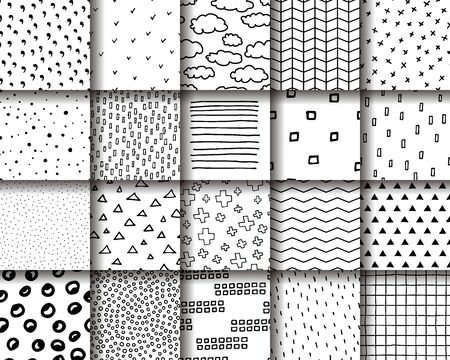 Scandinavian Set of 20 seamless patterns. Twenty black white ornaments in a Scandinavian minimalist style. Hand-drawn geometric backgrounds for prints, wallpapers, wrapping paper, interiors, textil Illustration