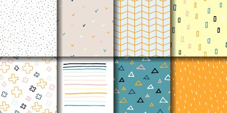 Set of 8 seamless patterns. Eight pastel multicolor ornaments in a Scandinavian minimalist style. Hand-drawn geometric backgrounds for prints, wallpapers, postcards, wrapping paper, interiors, textile