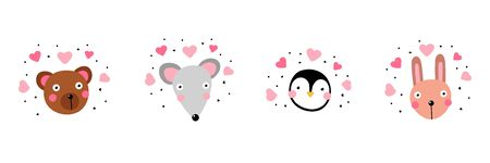 Kawaii animals sticker Set. Cute rabbit, mouse, penguin, bear in love with funny face and pink hearts isolated on white background. Vector characters emoji, children's prints, mascot avatar collection Illustration