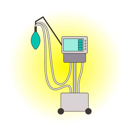 Medical ventilator cartoon icon. Color mechanical ventilation lungs Machine  on white gradient background. Apparatus to patients having trouble breathing, coronavirus covid-19, pneumonia. Vector sign Фото со стока - 147328417