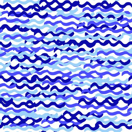 Seamless vector marine pattern. Blue brush strokes of paint waves isolated on white background. Spots, splashes, water, ocean, sea, line, river image. Water Ornament. Hand drawn vector illustration