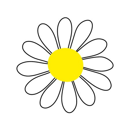 Vector camomile sign. Flower isolated on white background. Hand-drawn daisy image. Cartoon petals Plant. Symbol of summer, spring, nature, chamomile tea or cosmetics. Cute floral stock illustration Vectores