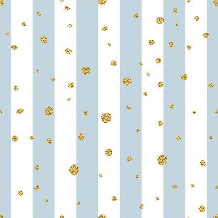 Seamless glitter striped pattern. Golden sparkles on pastel white blue line background. Festive Gold polka dots illustration for wallpaper, wrapping paper, print, textile. Sparkling vector Confetti Vetores