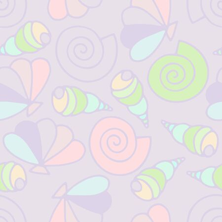 Seashells seamless vector summer pattern. Pastel colors sea snails on lilac background. Illustration with random pale cartoon shells for wallpaper, wrapping paper, textile, summer decoration, clothes