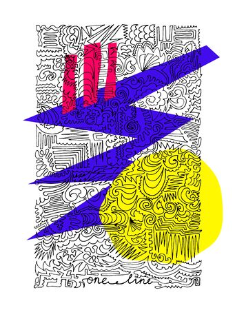 Abstract vector one line poster. Black outline single line drawing. Endless line and yellow, pink, purple geometric shapes on white background. Line art stock illustration with passepartout for print