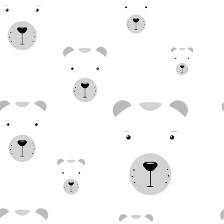 Kawaii polar bears seamless pattern. Funny vector concept illustration. Cute white animal isolated on white background for wallpapers, backgrounds, posters, wrapping paper, textile. Winter stock image Illustration