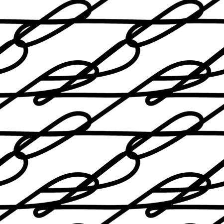 Seamless outline monochrome pattern. Black continuous line with bends and curls isolated on a white background. Vector abstract stock illustration with tangled stripes. Messy hand-drawn brush movement