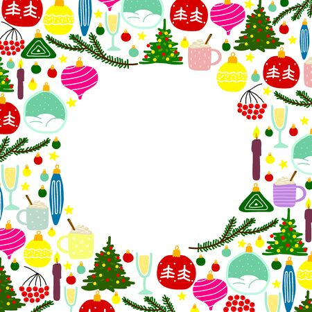 New Year illustration with place for text. Set of colored Christmas balls, trees, stars, branches, candles, berries, champagne, prosecco, eggnog, snowflakes in frame isolated on a white background