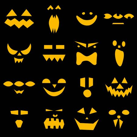 Seamless pattern of halloween scary pumpkins faces on black background. Funny, creepy, smiling faces. Happy Halloween festive symbol. Holiday characters. Set spooky autumn vector flat illustration
