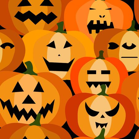 Seamless pattern of halloween scary orange pumpkins on a black background. Funny, creepy, smiling faces. Autumn characters. Happy Halloween festive symbol. Spooky autumn vector flat style illustration