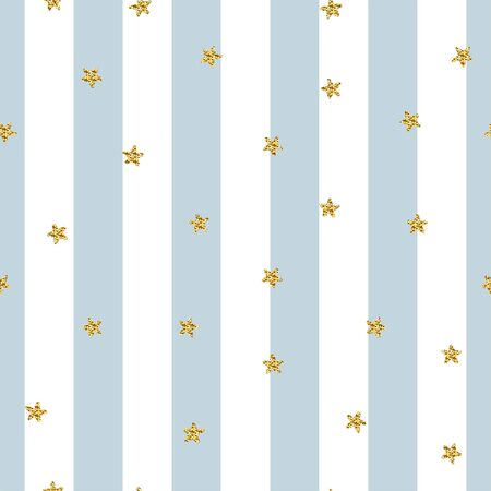Star seamless glitter striped pattern. Shiny stars on light white blue lines background. Sparkles for holidays, Christmas, Birthday. Trendy Vector illustration for wallpaper, wrapping paper, textile