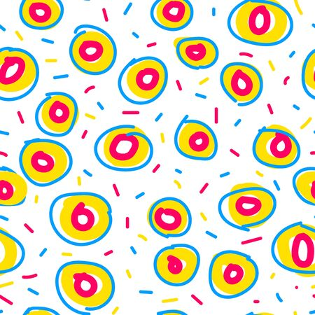 Seamless donut pattern. Stylized hand-drawn donuts isolated on white background. Colored confetti, circles, sweet food, sprinkles. Vector illustration for menu, holidays, birthday. Abstract wallpaper