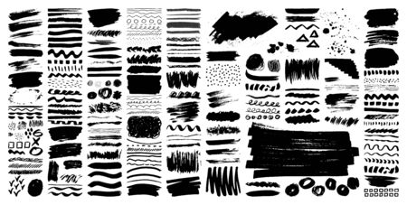 Vector grunge brushes Set. Brush strokes, stains, ink spray, pencil, marker, dry brush collection. Dirty artistic hand drawn elements isolated on white background. Trend paintbrush stickers, line, dot
