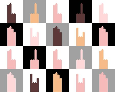 Seamless different nationalities people Hand gestures Pattern. Fuck, rock-n-roll, peace, palm. Flat black, gray, white cell background. Human rights, equality, protest, unity. Vector illustration Çizim