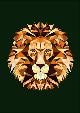 Polygonal lion head in front. Golden wild animal face on green background. Mosaic mascot of triangles. Low poly character portrait for print, sticker, poster, notebook, t-shirt. Vector illustration