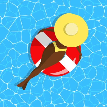 Woman on swimming ring concept. Dark skinned girl in a hat top view on blue water background. Relaxing character at sea, beach, pool. Rubber ring, bikini swimsuit, waves. Vector summer illustration