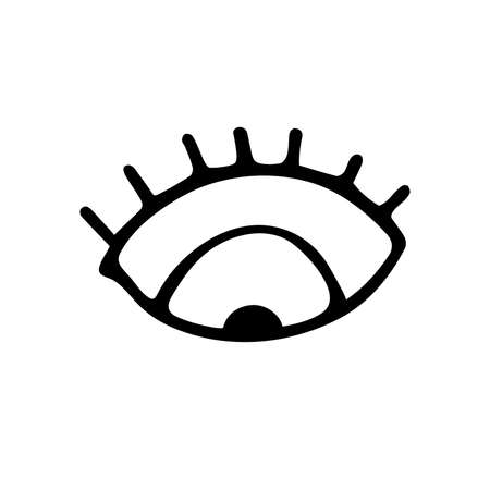 Hand drawn black outline eye with eyelashes isolated on white background. A symbol of attention, thought, amulet interest. Minimalistic sign image. Downward-looking eye. Vector stock illustration