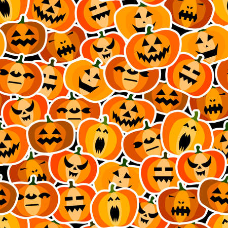 Seamless halloween scary orange pumpkins pattern. Funny, creepy, smiling face on black backgrounds. Autumn characters stickers. Happy Halloween festive symbol. Spooky vector flat style illustration 矢量图像