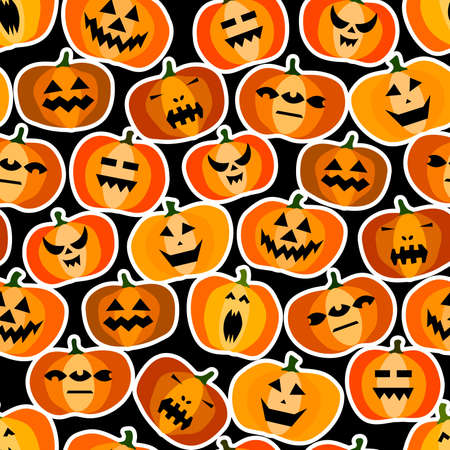 Seamless halloween scary orange pumpkins pattern. Funny, creepy, smiling face on black backgrounds. Autumn characters stickers. Happy Halloween symbol. Spooky vector trick or treat party illustration