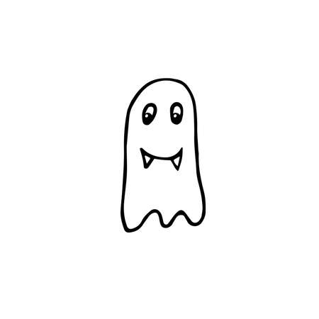 Doodle Halloween smiling ghost. Outline character with fangs isolated on white background. Hand drawn cute scary evil spirits. Vector apparition sign for spooky autumn holidays, print, trick or treat 矢量图像