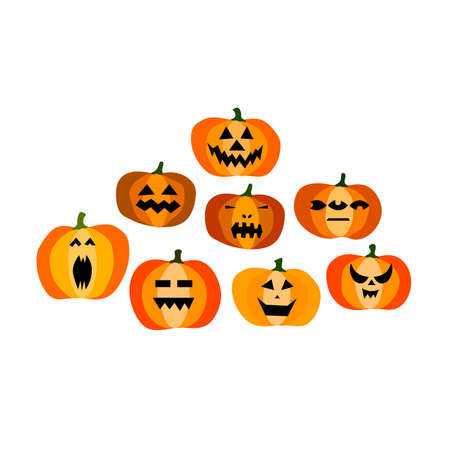Set of halloween scary orange pumpkins isolated on white background. Funny, creepy, smiling faces. Happy Halloween Holiday Symbol. Character collection. Flat Style Vector Spooky Autumn Illustration 矢量图像