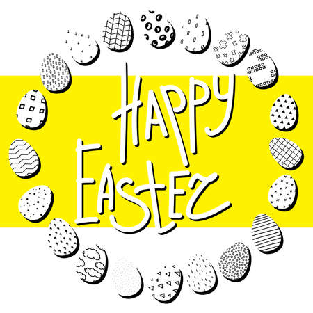 Happy Easter illustration. A wreath of black and white eggs with different Scandinavian ornaments on a yellow background. Happy Easter lettering or place for your text in a circle of painted eggs