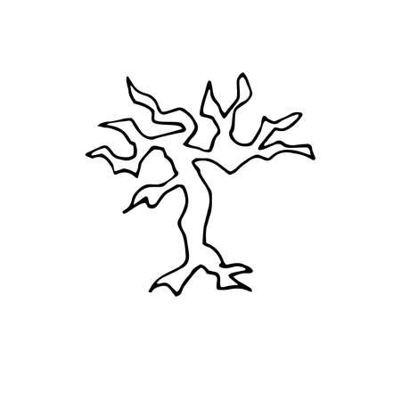 Doodle scary bare Tree. Hand drawn horror autumn plant isolated on white background. Naked Tree silhouette with fallen leaves, curved branches, roots. Vector illustration for Halloween, spooky prints