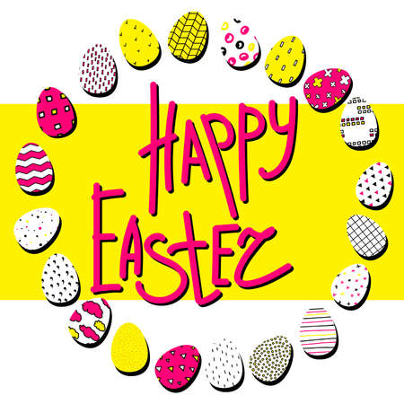 Happy Easter illustration. A wreath of pink, black, white eggs with different Scandinavian ornaments on a yellow background. Happy Easter lettering or place for your text in a circle of painted eggs