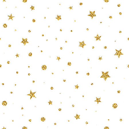 Seamless Glitter Stars vector pattern. Shiny stars, dots isolated on white background. Sparkles for holidays, New Year, Christmas, Birthday. Vector Xmas Magic night illustration for wallpaper, print