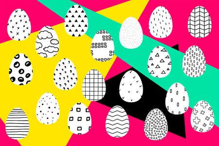 Easter illustration. Vector color banner with contrasting inserts. Set of easter black and white Easter eggs with Scandinavian ornament. Festive avant-garde spring poster. Polka dot, stripes, crosses Çizim